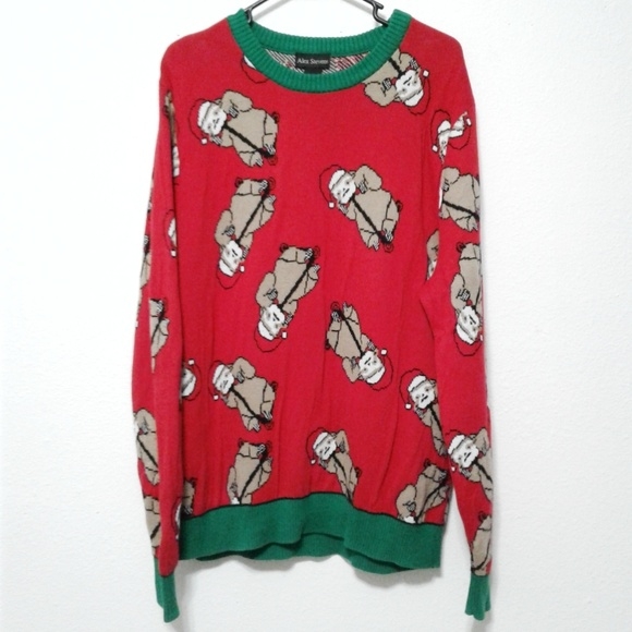 Sloth Ugly Christmas Sweater.Alex Stevens Sloth In Santa Hat Ugly Christmas